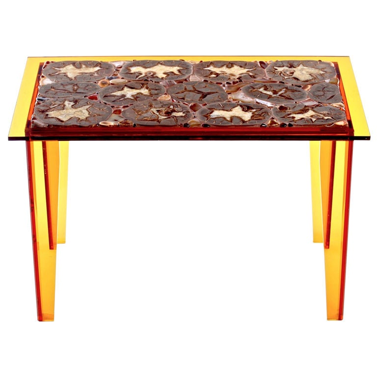 Geode and lucite opus table by miriam rogers at 1stdibs for Geode side table