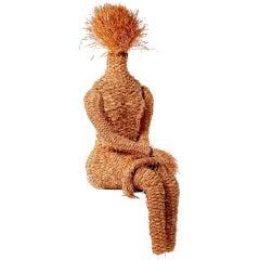 Woven Hemp Abstract Sculpture of a Woman