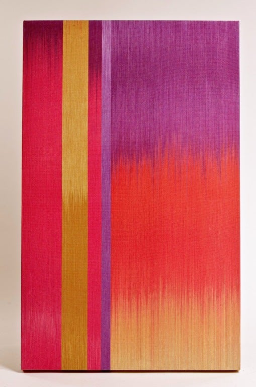 A beautiful pop of color by London artist, Ptolemy Mann.  Ptolemy is an established textile artist and designer specializing in large scale, hand dyed and woven textile art and a unique creator of one-off woven architectural art panels. Shown here