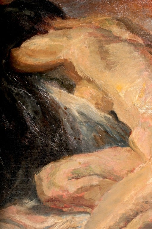 A beautifully executed kneeling nude woman with face buried in her cascading hair...purchased in a NYC Gallery in the 1960s it's a striking large and masterful abstract painting.  Priced in 1960's at $4,000.  Signed.