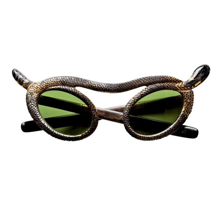 Rare French 50's Snake Sunglasses by Paulette Guinet