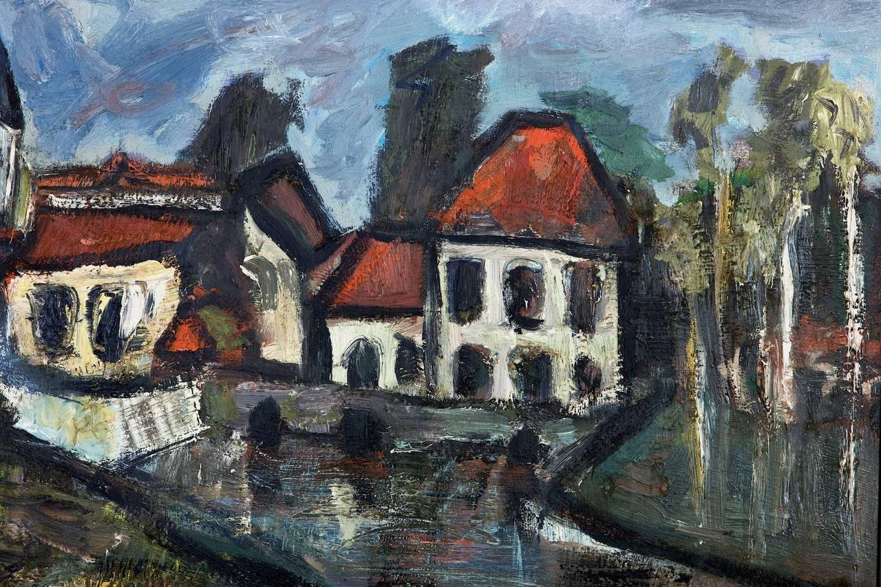 Mid-20th Century Daniel Bertet Abstract Painting of a French Village  For Sale