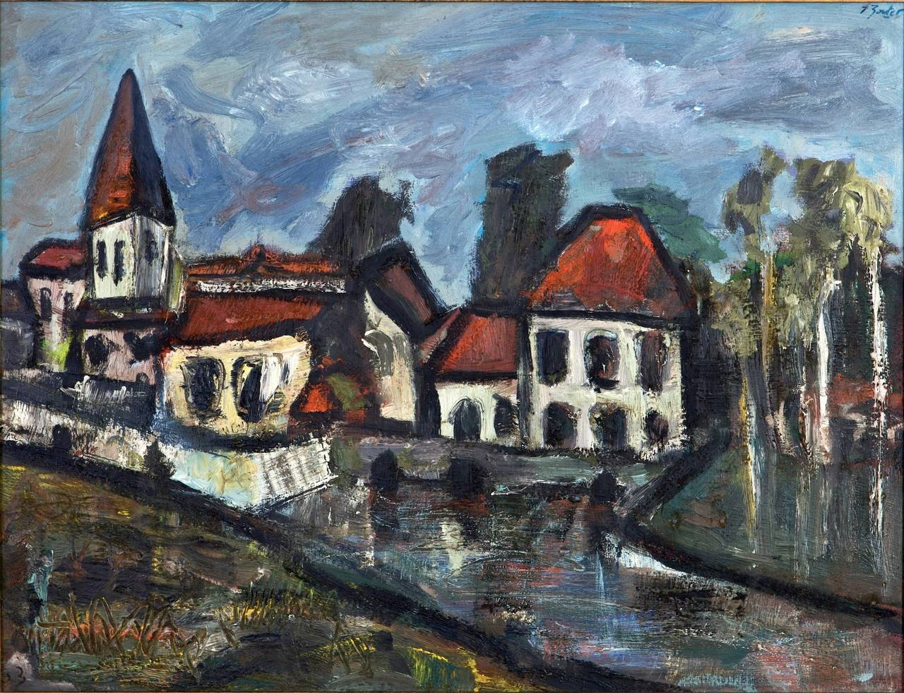 Striking abstract of a Country Village by listed French artist Daniel Bertet. He exhibited in Paris during the 1960s and can be found in private collections worldwide. Oil on canvas, signed 63 lower left and Bertet upper right and on verso.   Found