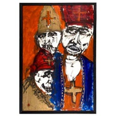 """Three Bishops"" Abstract Figural Painting by Walter Michael Lee"