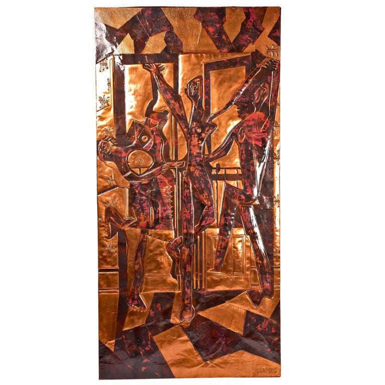"Copper Wall Panel Sculpture of ""Les Trois Danseuses"" after Picasso"