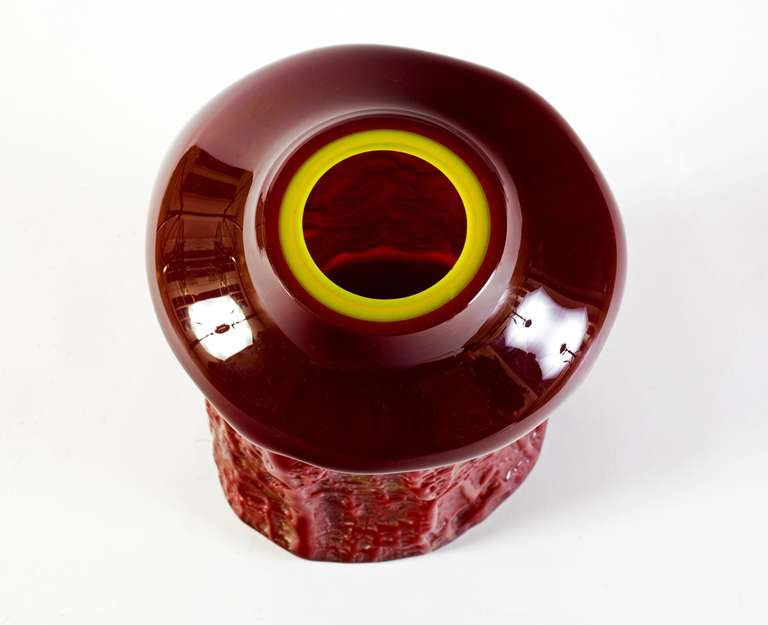 Belgian Val Saint Lambert Sculptural Maroon Vase  For Sale