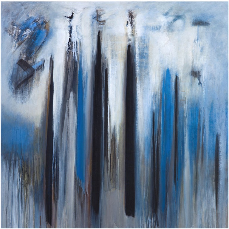 Abstract Blue Painting by Brazilian Artist Ivanilde Brunow For Sale