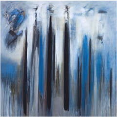 """Silent Wood"" Abstract Modern Blue Painting by Brazilian Artist Ivanilde Brunow"