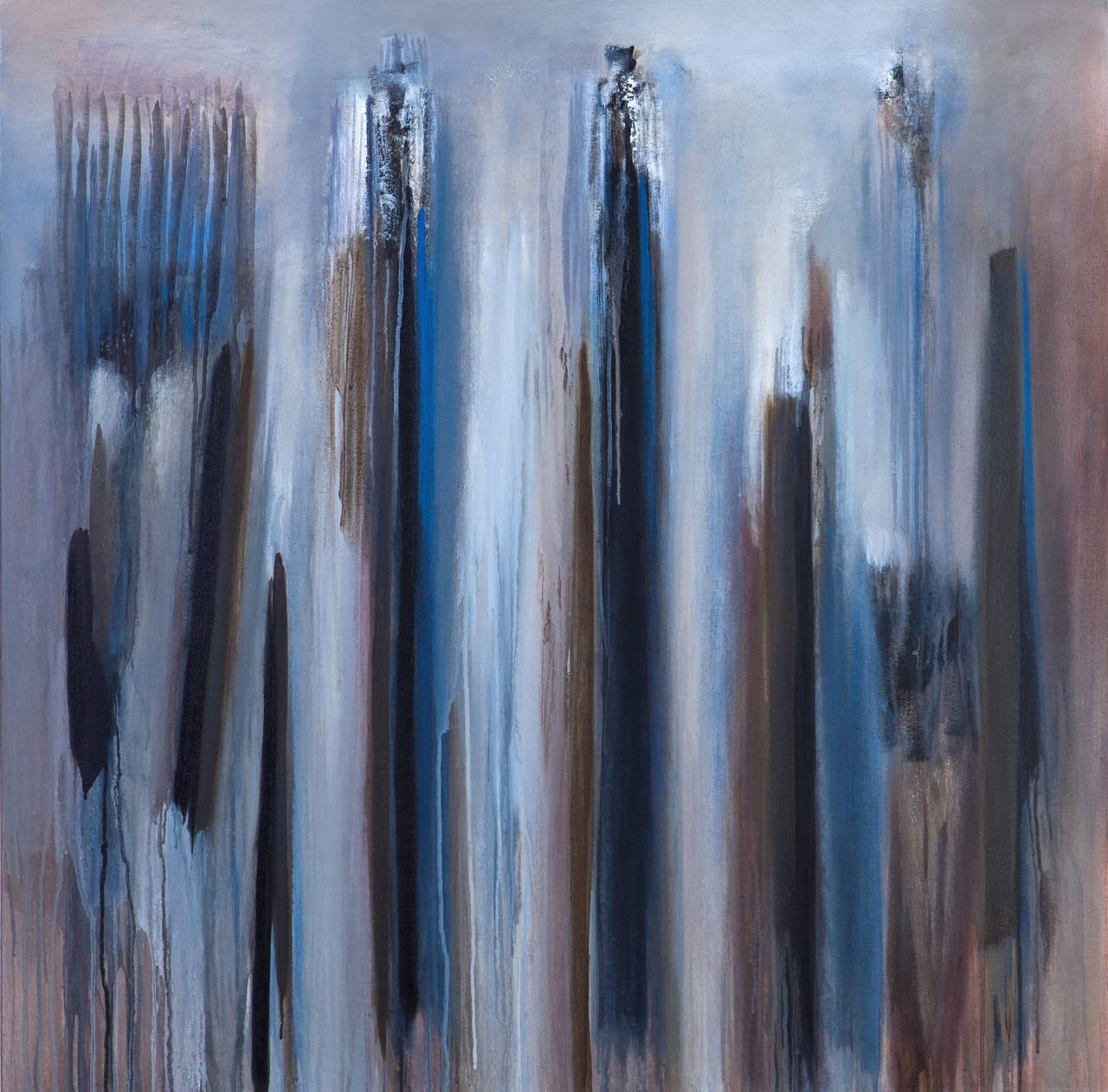 """""""Silent Wood"""" Abstract Modern Blue Painting by Brazilian Artist Ivanilde Brunow For Sale 1"""