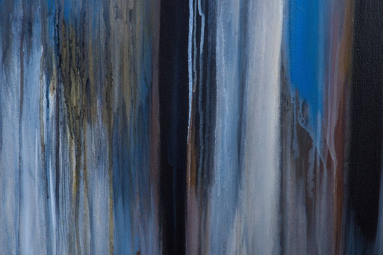 """""""Silent Wood"""" Abstract Modern Blue Painting by Brazilian Artist Ivanilde Brunow In Excellent Condition For Sale In New York, NY"""