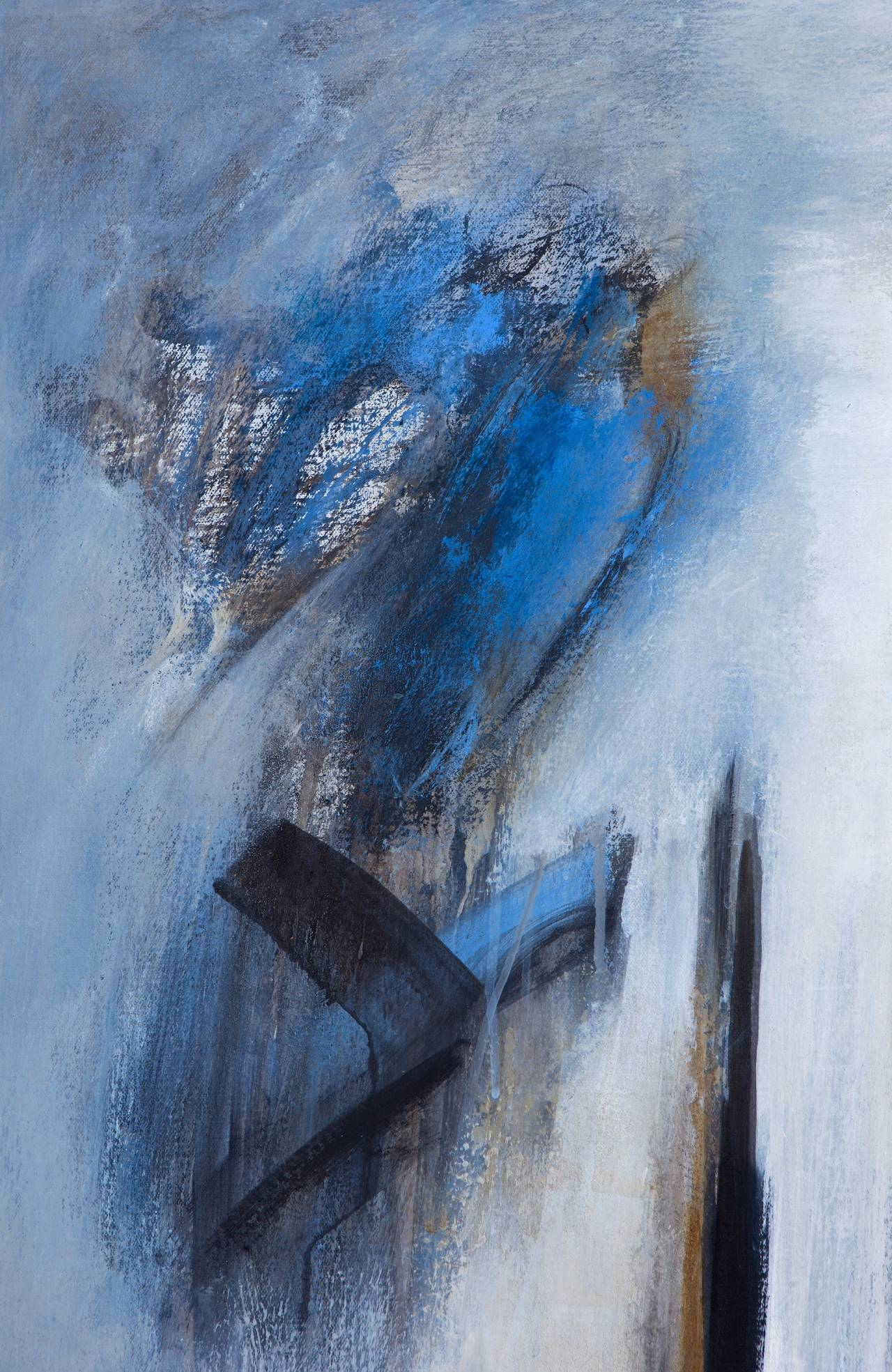 Stunning and masterful painting by Brazilian Artist Ivanilde Brunow, Silent Wood is from Brunow's series Icons of Nature. This mixed medium of acrylic, resin and charcoal with bold blues, black and white on canvas demonstrates a powerful abstract