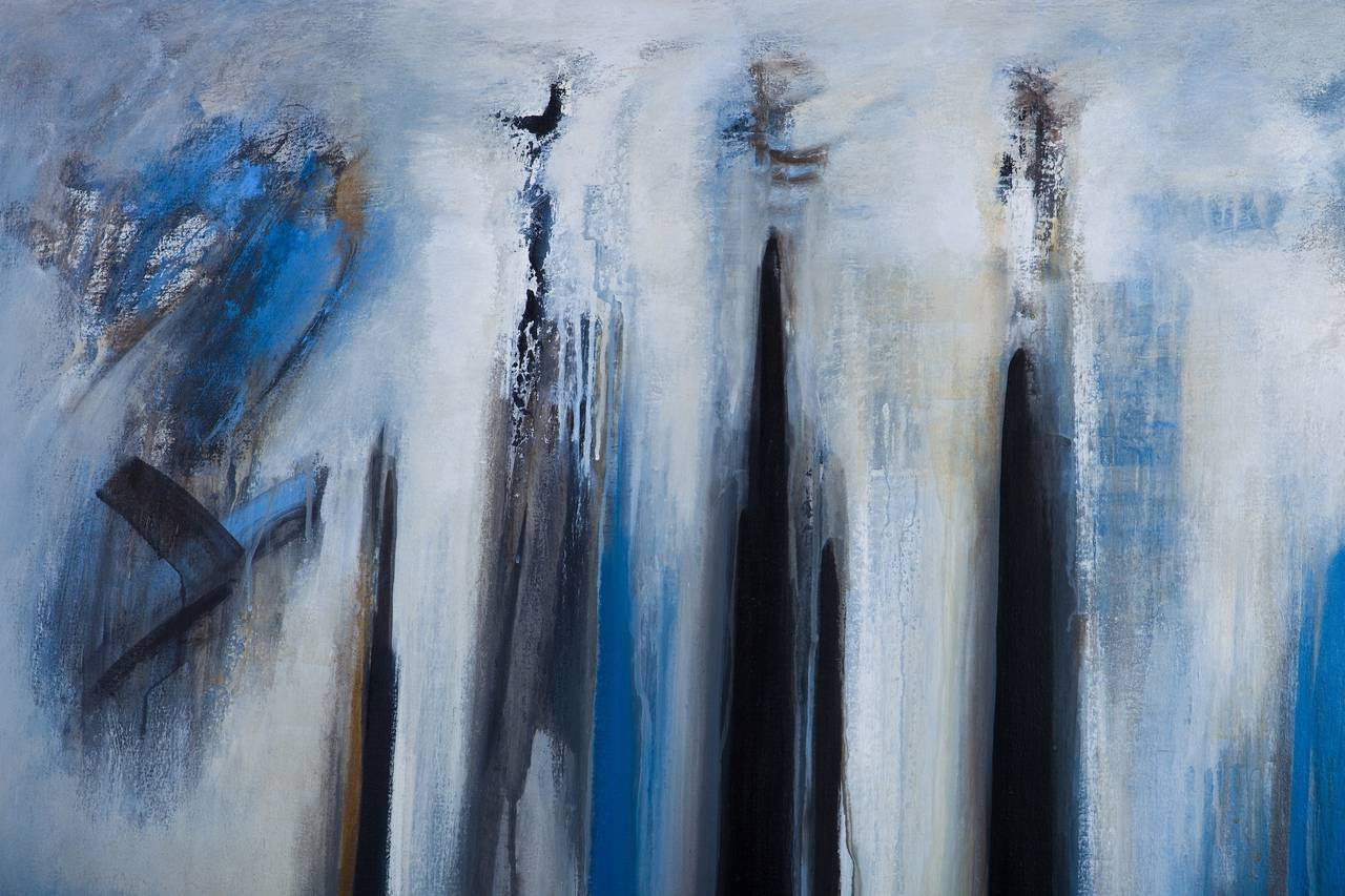 """Contemporary """"Silent Wood"""" Abstract Modern Blue Painting by Brazilian Artist Ivanilde Brunow For Sale"""