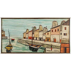 Seaside Port by French Artist Villard