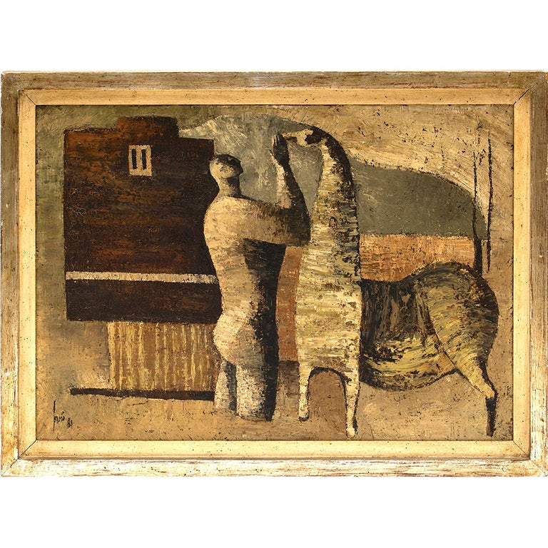 Sergio Sarri Abstract Man & Horse Painting  For Sale
