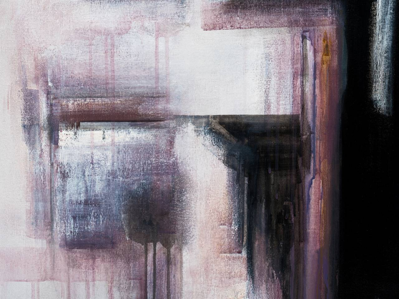 Moving composition in black, white and plum by Brazilian artist Ivanilde Brunow, 2015. This mixed media of acrylic and charcoal on canvas demonstrates a powerful abstract image of multi-layers intertwined with strong colors.
