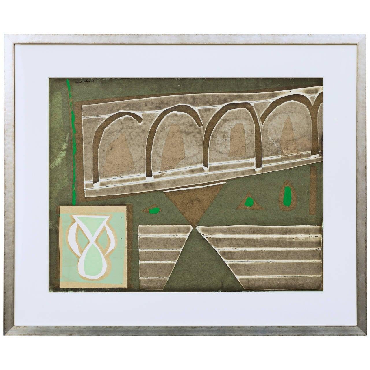 Albert Urban Abstract Silkscreen circa 1950's