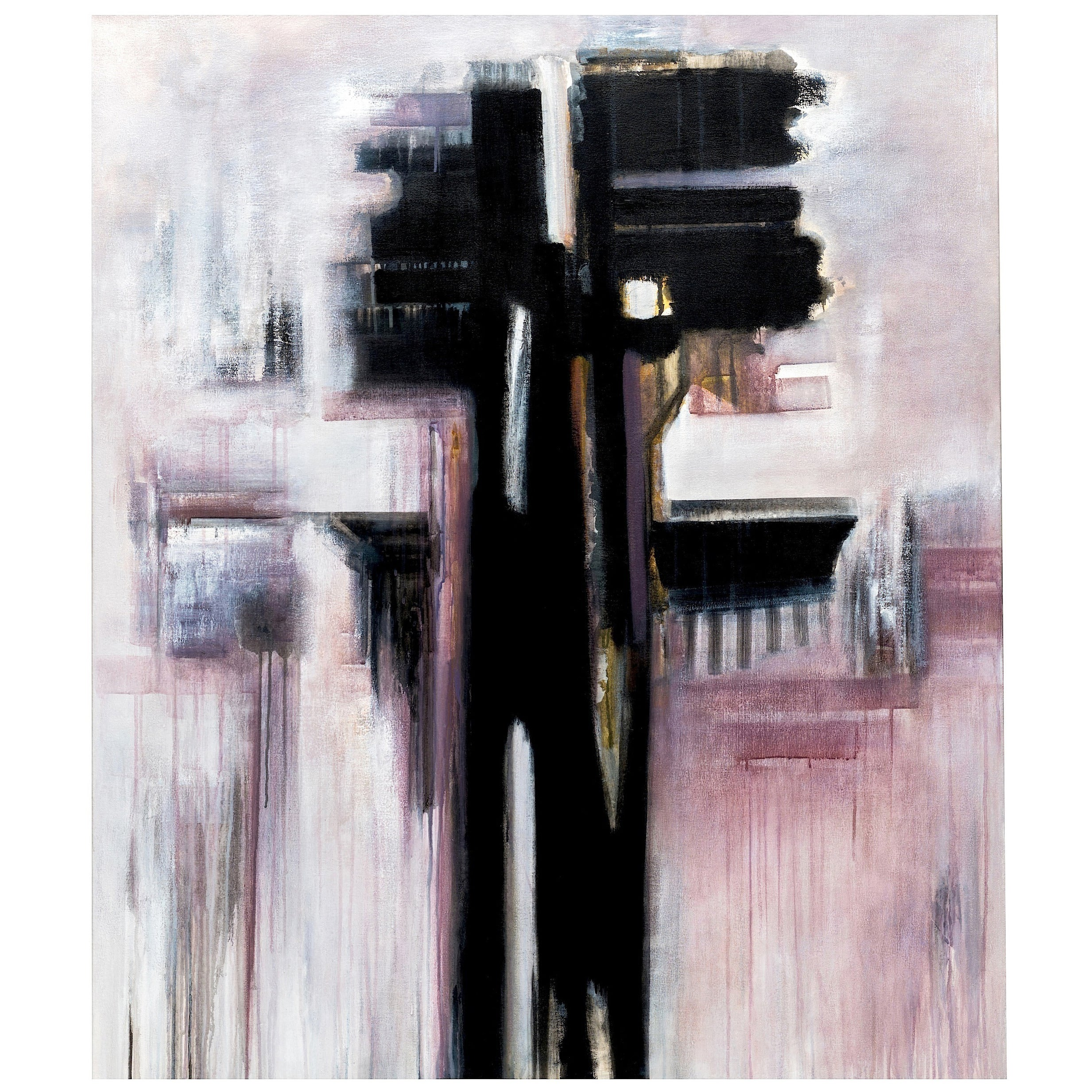 Modern Black & White Abstract Painting by Brazilian Artist Ivanilde Brunow