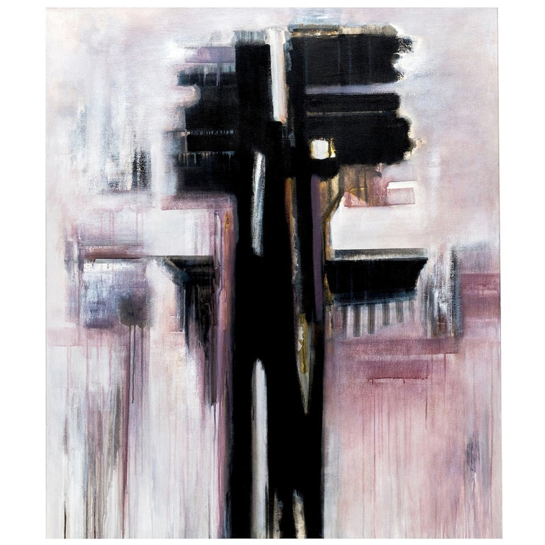 Modern Black & White Abstract Painting by Brazilian Artist Ivanilde Brunow For Sale