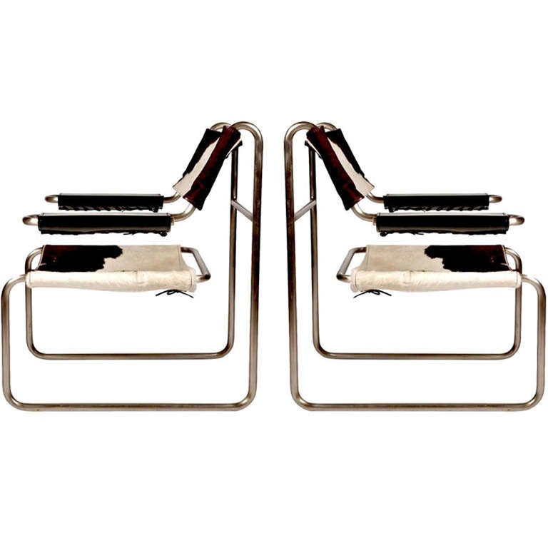 Pair of Bauhaus Tubular Sling Chairs