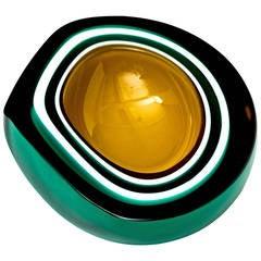 Green Geode Murano Bowl