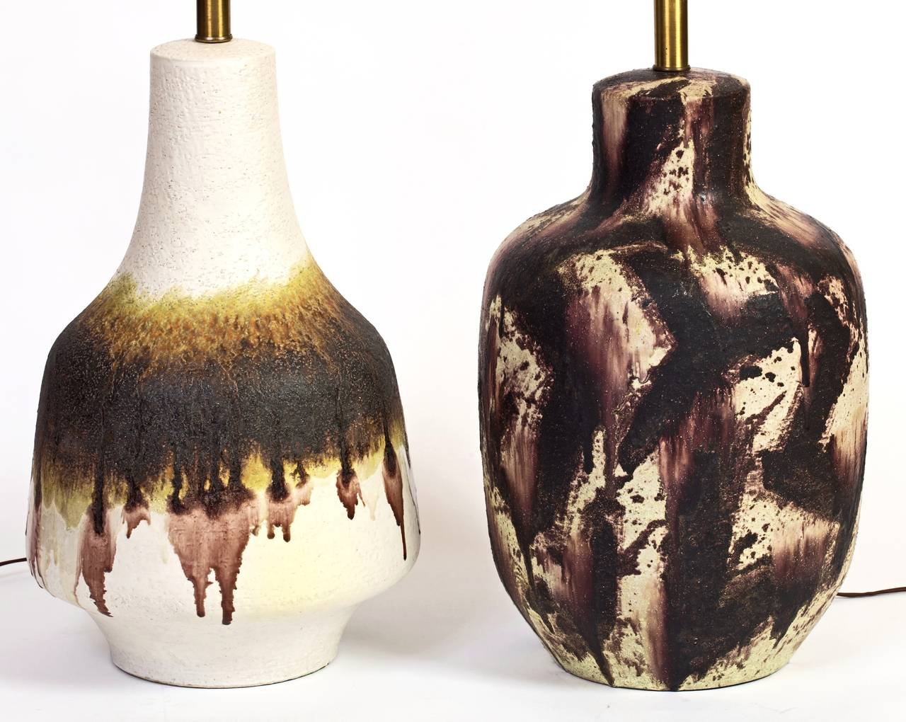 Italian Unique Pair of Fantoni Ceramic Lamps For Sale