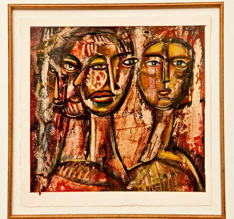 Abstract Cubist Painting In Good Condition For Sale In New York, NY