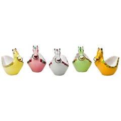Italian Hand-Painted Ceramic Horse Bowls, 1960s