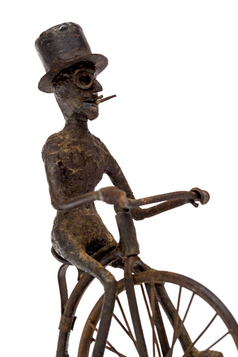 American Pair of Black Smith Art Sculptures of a Bicyclist and a Hunter, circa 1900s For Sale