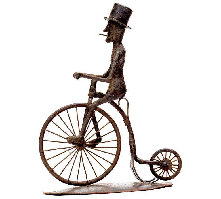 Folk Art Pair of Black Smith Art Sculptures of a Bicyclist and a Hunter, circa 1900s For Sale
