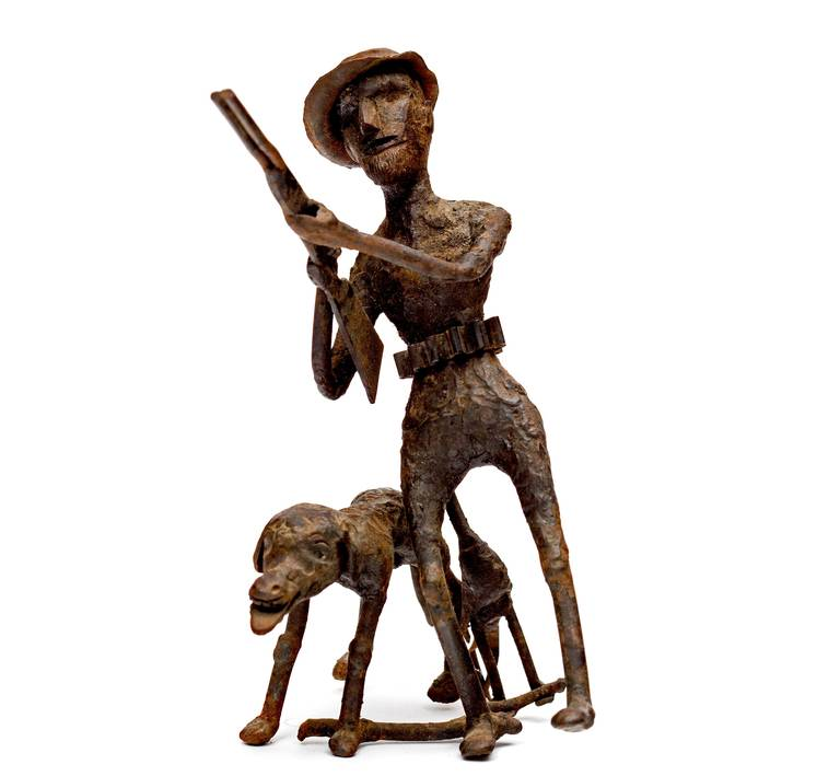 Pair of Black Smith Art Sculptures of a Bicyclist and a Hunter, circa 1900s In Good Condition For Sale In New York, NY