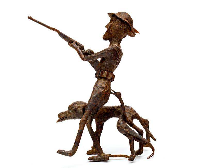 Forged Pair of Black Smith Art Sculptures of a Bicyclist and a Hunter, circa 1900s For Sale