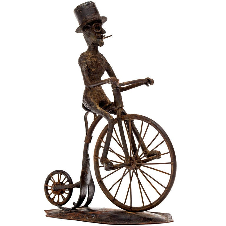 Pair of Black Smith Art Sculptures of a Bicyclist and a Hunter, circa 1900s For Sale