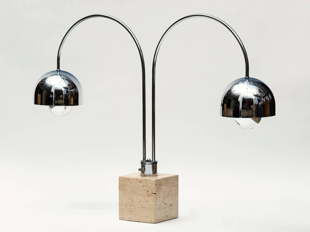 1970s Guzzini Double Arc Chrome And Travertine Desk Lamp