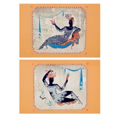 Pair of Art Deco Women, Reverse Painting on Glass