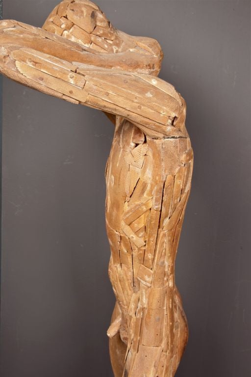 Wooden Figural Sculpture by Matteson circa 1950's In Good Condition For Sale In New York, NY