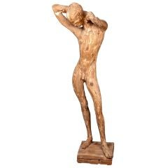 1950s Wooden Nude Sculpture by Matteson