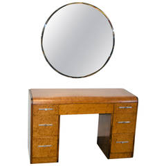 Art Deco Mid-Century Vanity or Desk with Mirror