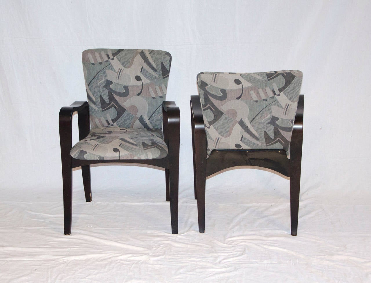 Fabric Mid Century Bent Ply Dining Chairs - Thaden-Jordan For Sale