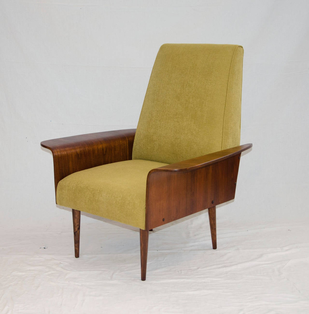 Walnut Bent Ply Lounge Chair In The Style Of George