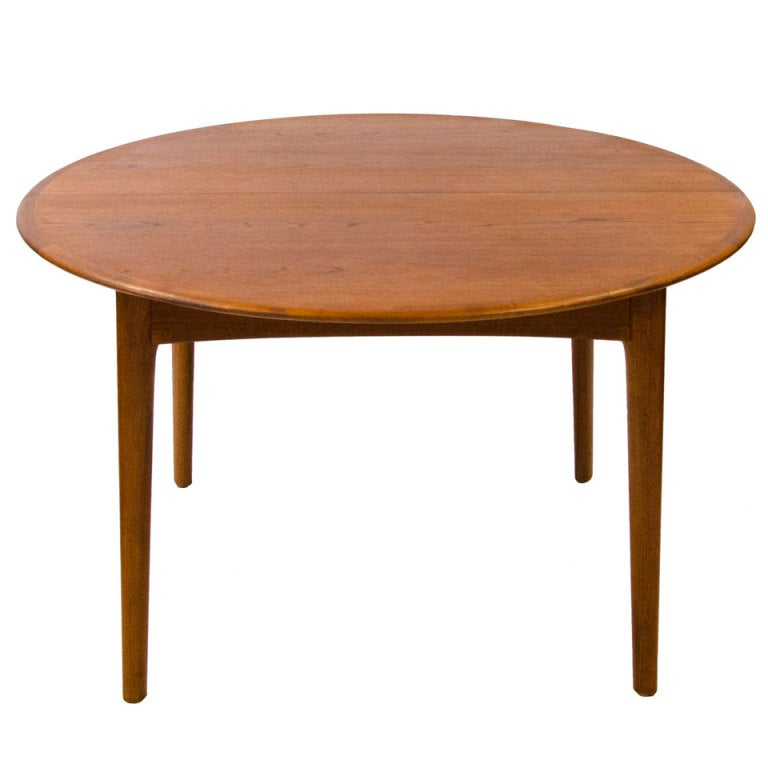 Round Teak Dining Table Danish Two Leaves
