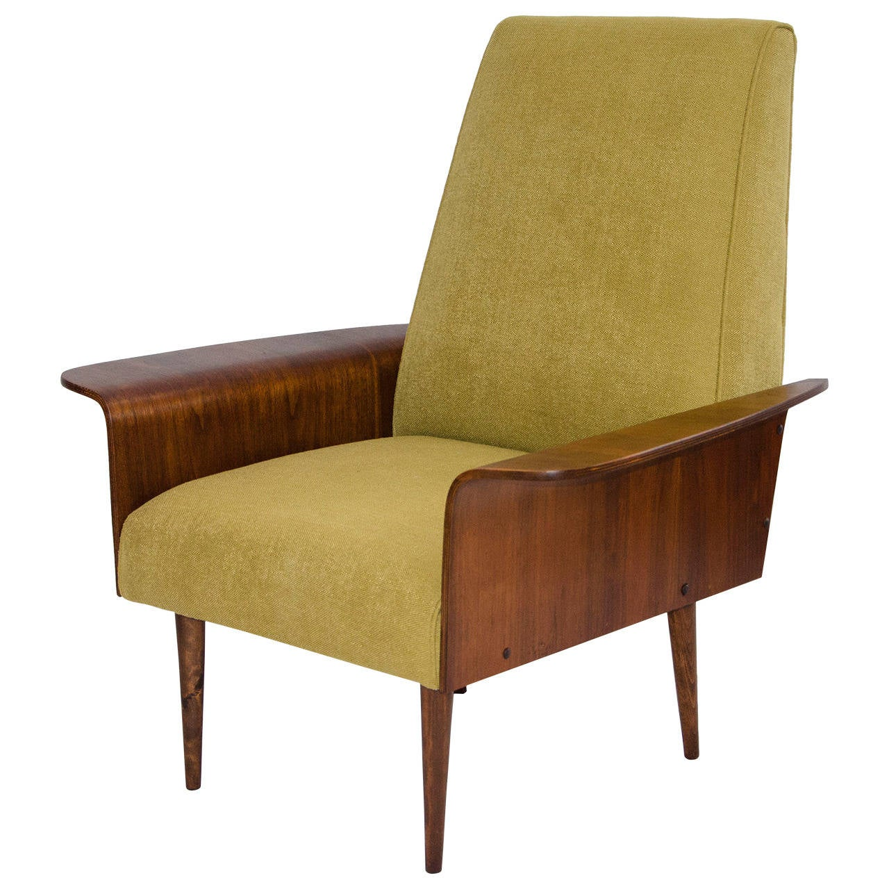 Walnut Bent Ply Lounge Chair in the Style of George Mulhauser