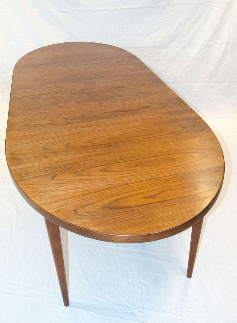 Mid Century Oval Walnut Dining Table Two Leaves At 1stdibs