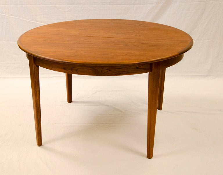 Round Danish Teak Dining Table Large Three Leaves At 1stdibs