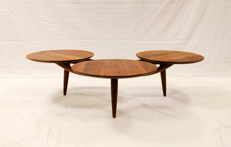Walnut Coffee Table Three Disks After Greta Grossman At 1stdibs