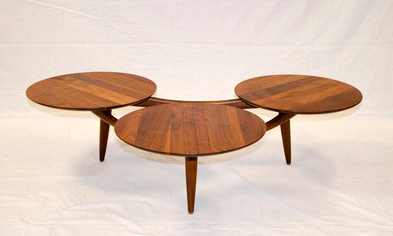 Walnut Coffee Table Three Disks After Greta Grossman Image 2