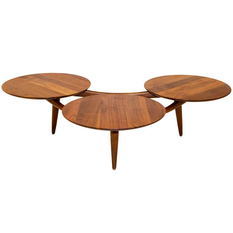 Walnut Coffee Table Three Disks After Greta Grossman At 1stdibs