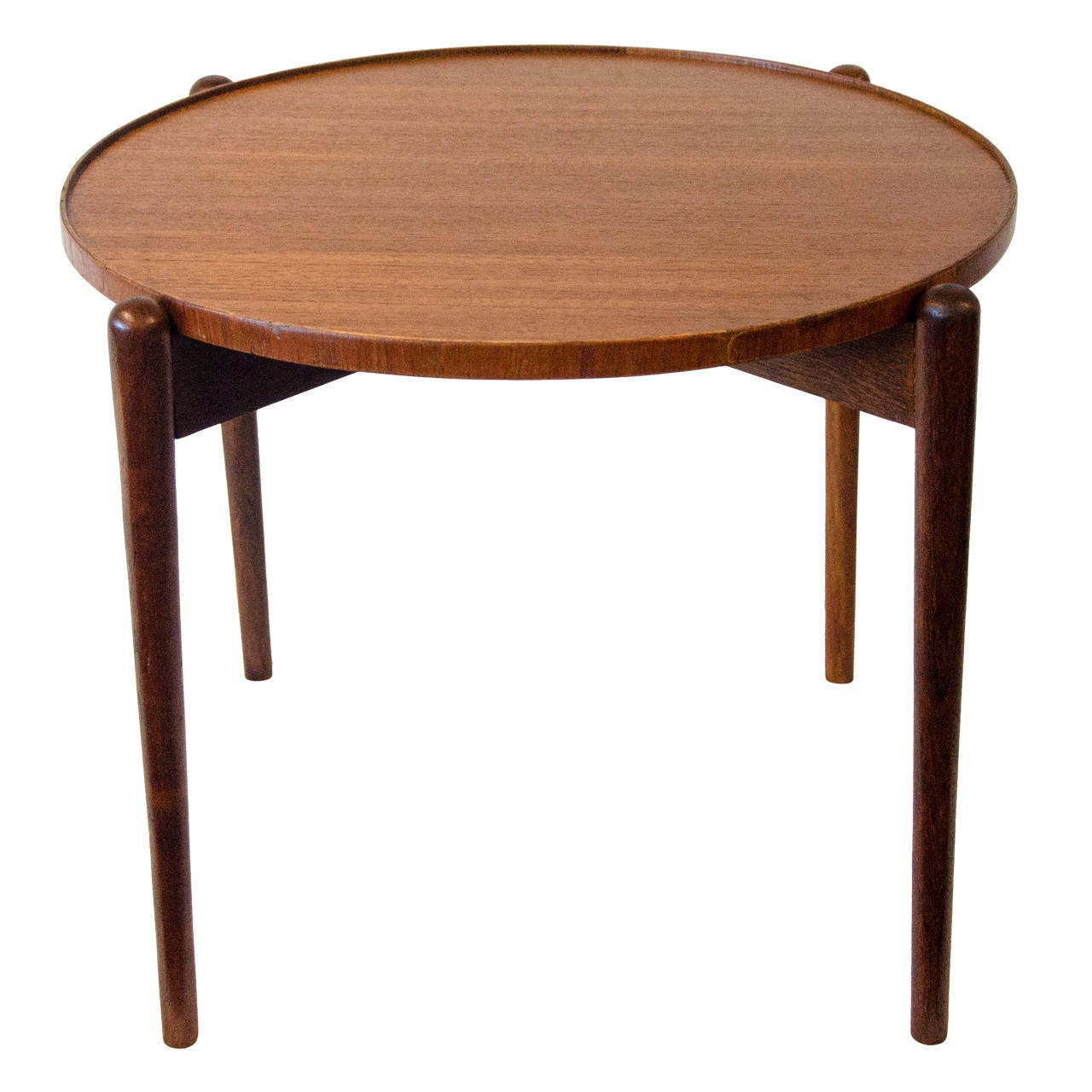 Small round teak accent table at 1stdibs for Tiny side table