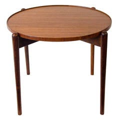 Small Round Teak Accent Table