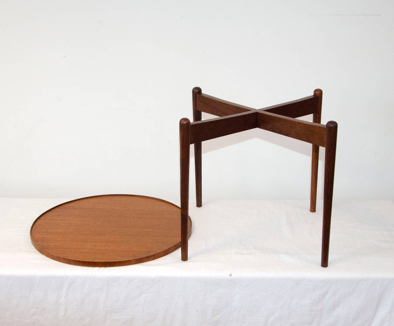 Small Round Teak Accent Table At 1stdibs