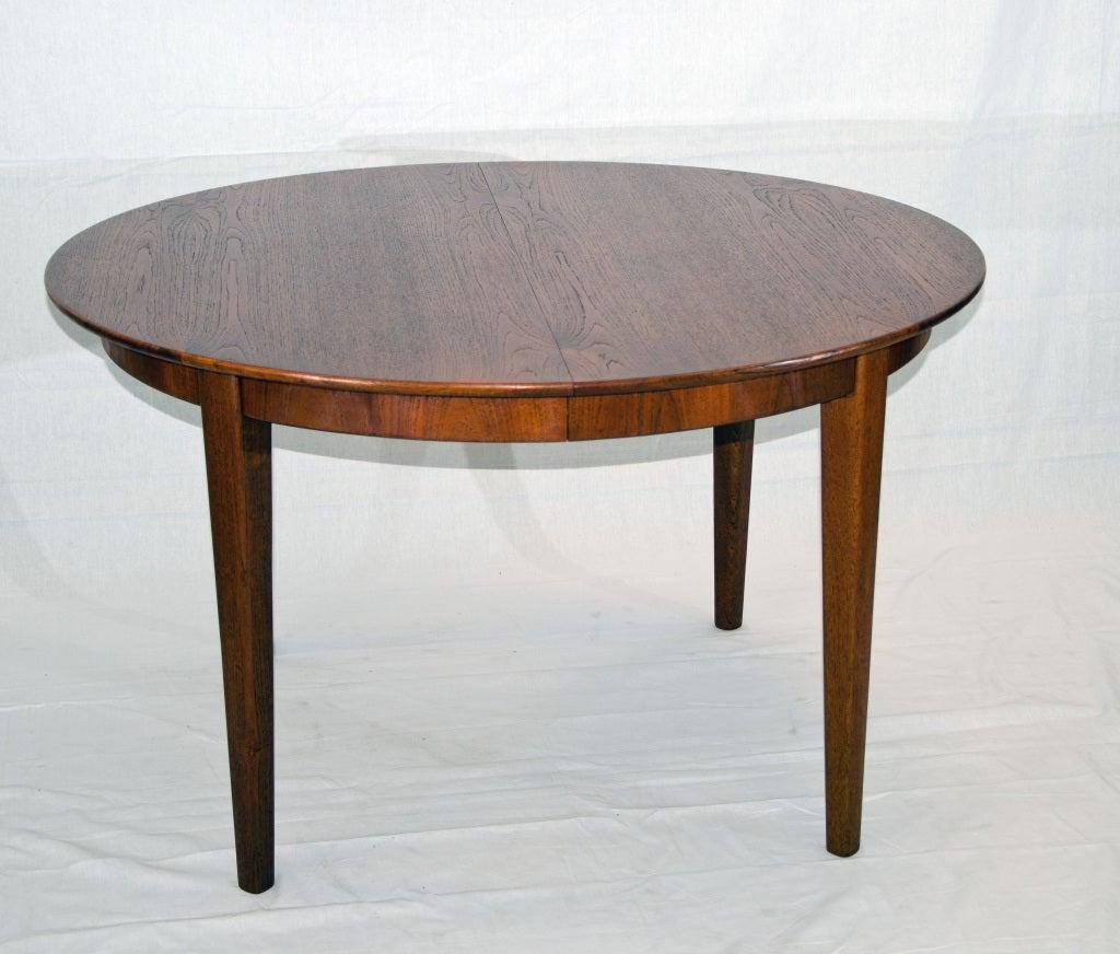 round teak dining table three leaves at 1stdibs
